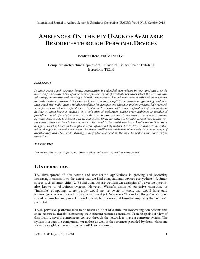 International Journal of Ad hoc, Sensor & Ubiquitous Computing (IJASUC) Vol.4, No.5, October 2013  AMBIENCES: ON-THE-FLY U...