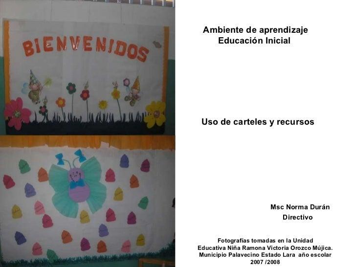 Uso de carteles y recursos Fotografías tomadas en la Unidad Educativa Niña Ramona Victoria Orozco Mújica. Municipio Palave...