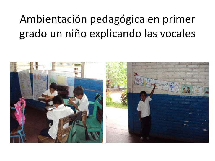 Ambientación pedagógica en primer grado un niño explicando las vocales<br />