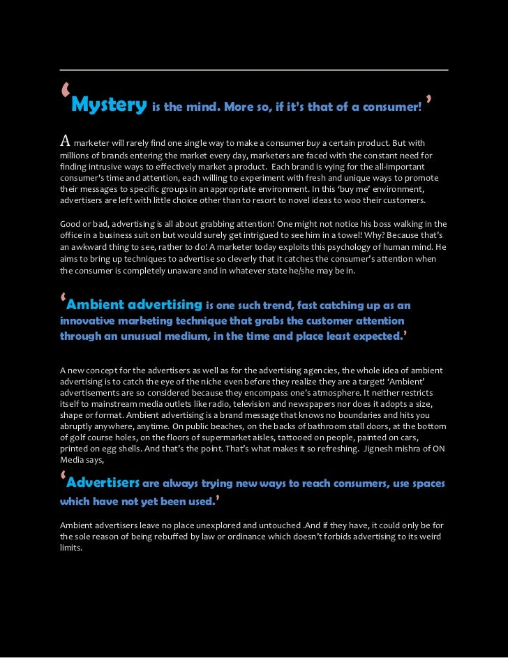 'Mystery                is the mind. More so, if it's that of a consumer!                       'A marketer will rarely fi...