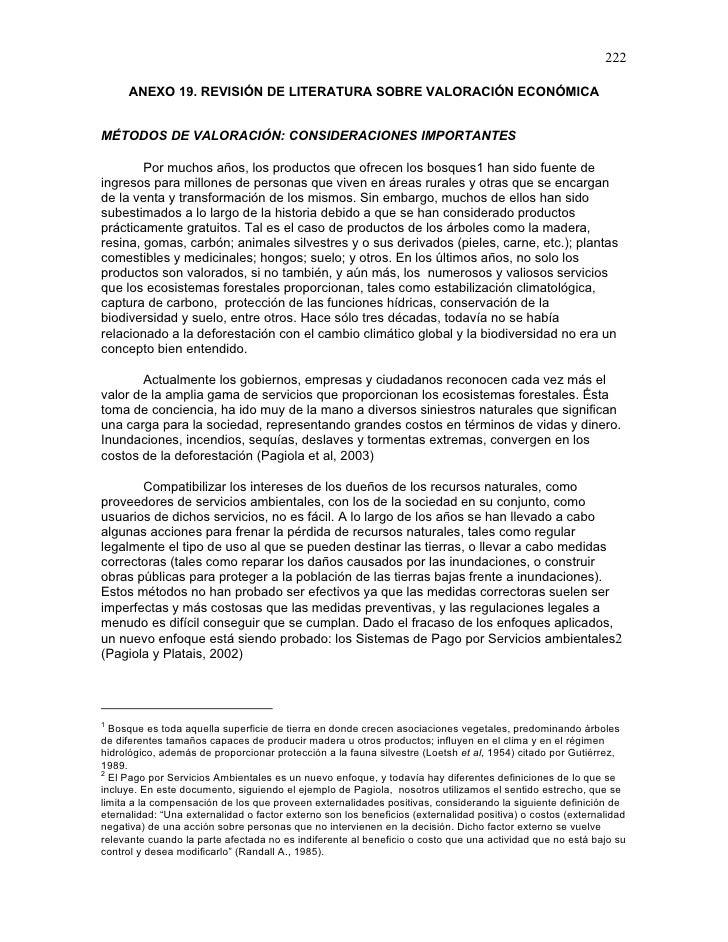 222     ANEXO 19. REVISIÓN DE LITERATURA SOBRE VALORACIÓN ECONÓMICAMÉTODOS DE VALORACIÓN: CONSIDERACIONES IMPORTANTES     ...