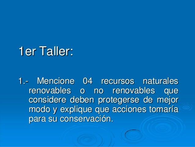 1er Taller:1.- Mencione 04 recursos naturales   renovables o no renovables que   considere deben protegerse de mejor   mod...