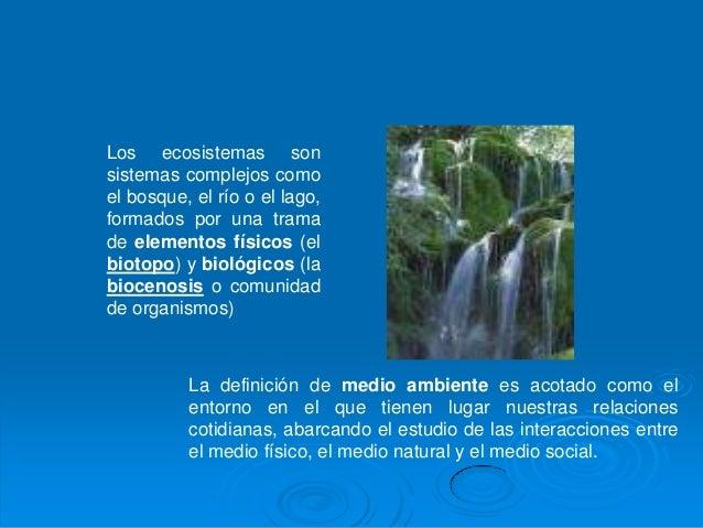 Los ecosistemas sonsistemas complejos comoel bosque, el río o el lago,formados por una tramade elementos físicos (elbiotop...