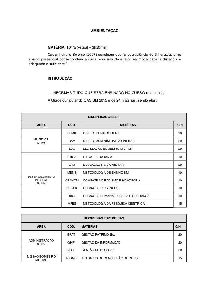 """AMBIENTAÇÃO MATÉRIA: 10h/a (virtual = 3h20min) Castanheira e Seleme (2007) concluem que """"a equivalência de 3 horas/aula no..."""