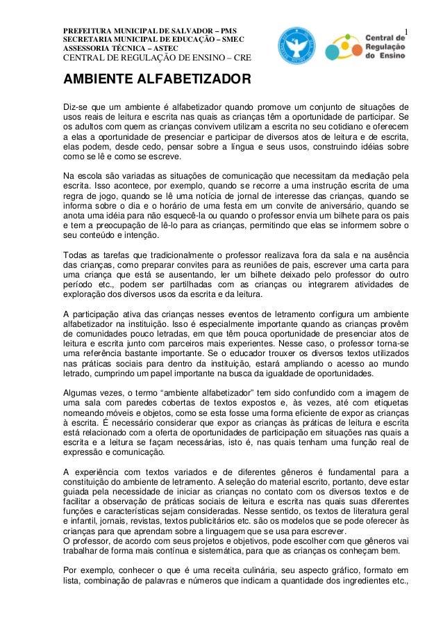 PREFEITURA MUNICIPAL DE SALVADOR – PMS  SECRETARIA MUNICIPAL DE EDUCAÇÃO – SMEC  ASSESSORIA TÉCNICA – ASTEC  CENTRAL DE RE...