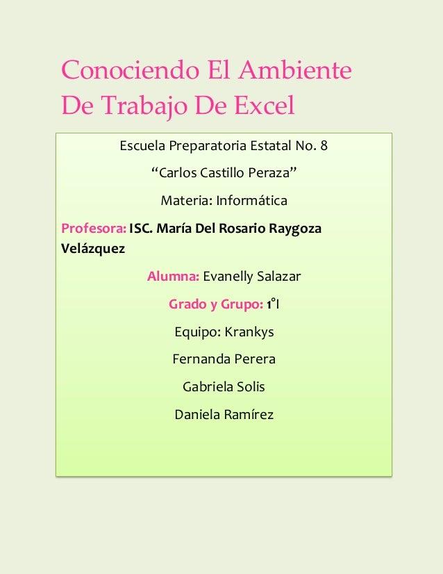 """Conociendo El Ambiente De Trabajo De Excel Escuela Preparatoria Estatal No. 8 """"Carlos Castillo Peraza"""" Materia: Informátic..."""