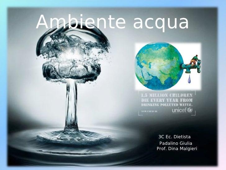 Ambiente acqua           3C Ec. Dietista           Padalino Giulia          Prof. Dina Malgieri