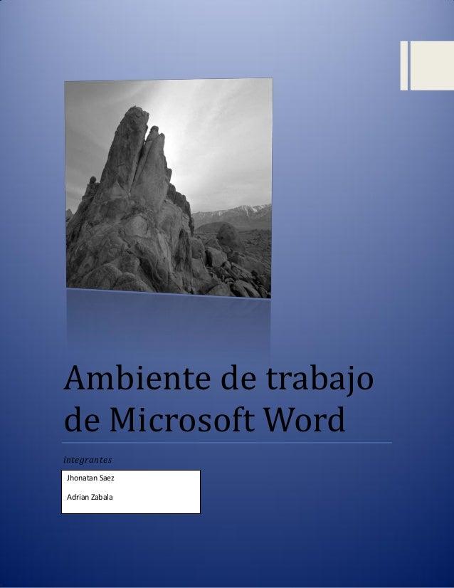 Ambiente de trabajo de microsoft word for Ambiente de trabajo