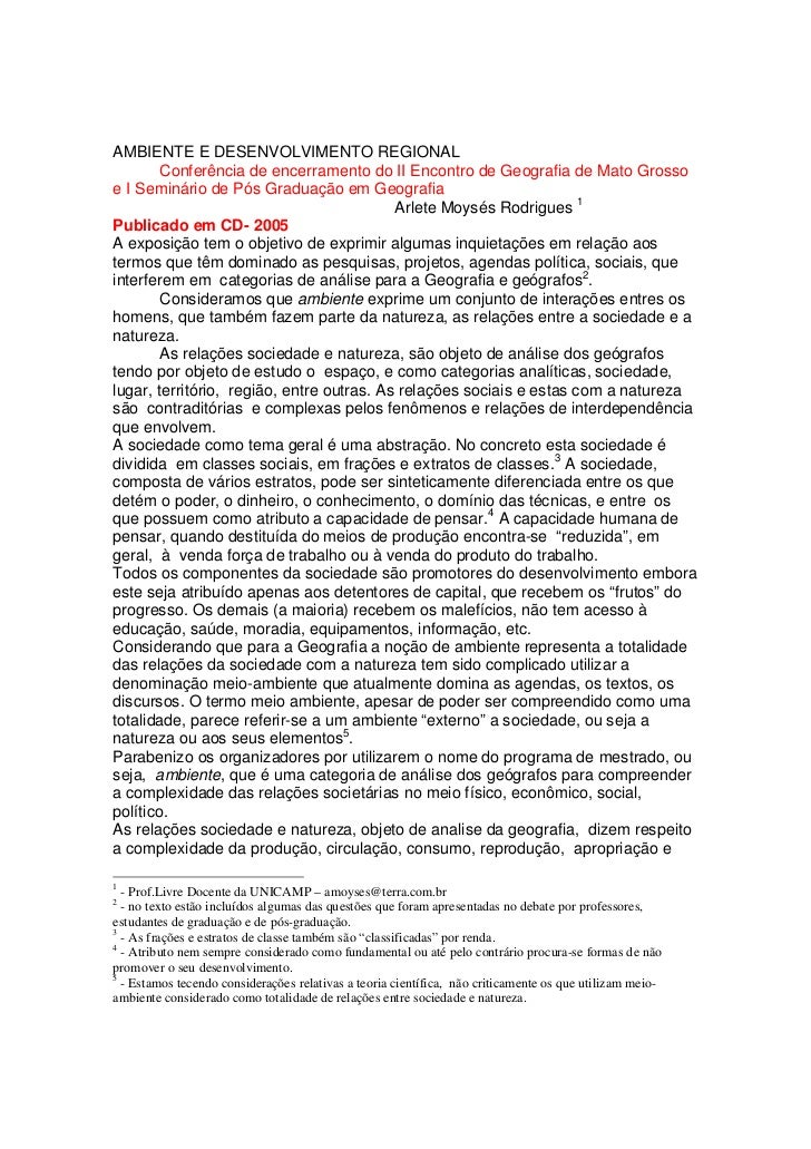 AMBIENTE E DESENVOLVIMENTO REGIONAL        Conferência de encerramento do II Encontro de Geografia de Mato Grossoe I Semin...