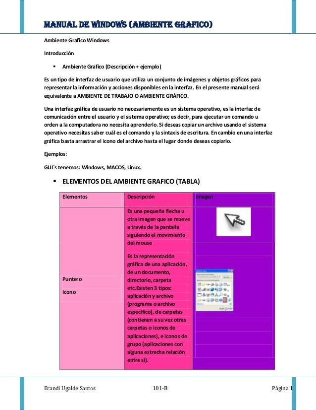MANUAL DE WINDOWS (AMBIENTE GRAFICO)Ambiente Grafico WindowsIntroducción      Ambiente Grafico (Descripción + ejemplo)Es ...
