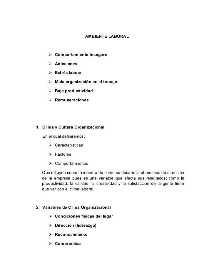 AMBIENTE LABORAL       Comportamiento inseguro       Adicciones       Estrés laboral       Mala organización en el tra...