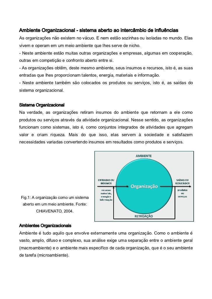 Ambiente Organizacional - sistema aberto ao intercâmbio de influênciasAs organizações não existem no vácuo. E nem estão so...