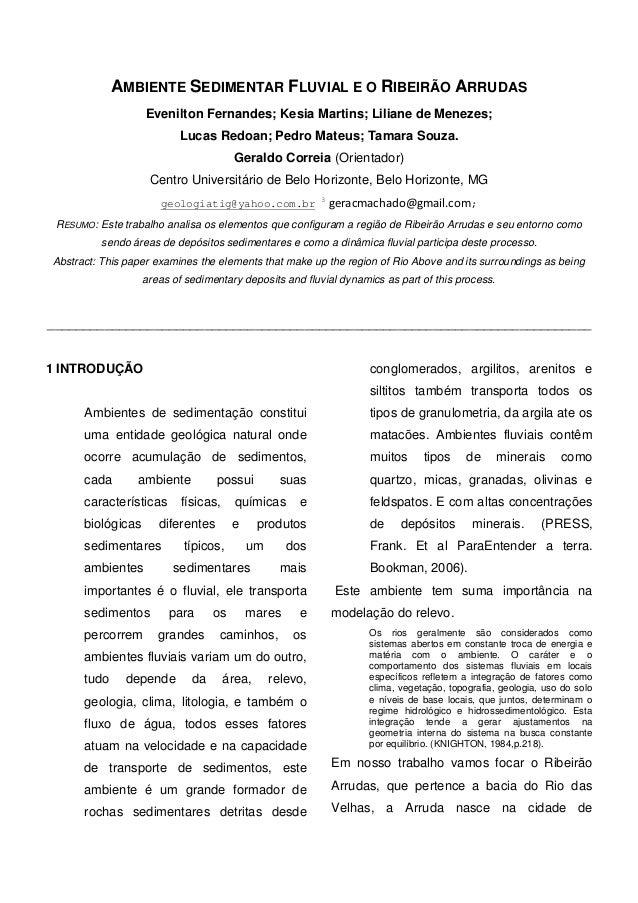 AMBIENTE SEDIMENTAR FLUVIAL E O RIBEIRÃO ARRUDAS  Evenilton Fernandes; Kesia Martins; Liliane de Menezes; Lucas Redoan; Pe...