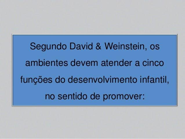 Segundo David & Weinstein, os ambientes devem atender a cinco funções do desenvolvimento infantil, no sentido de promover: