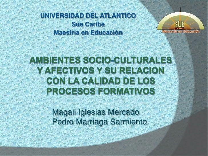 UNIVERSIDAD DEL ATLANTICO<br />Sue Caribe<br />Maestría en Educación<br /><br />AMBIENTES SOCIO-CULTURALES Y AFECTIVOS Y ...