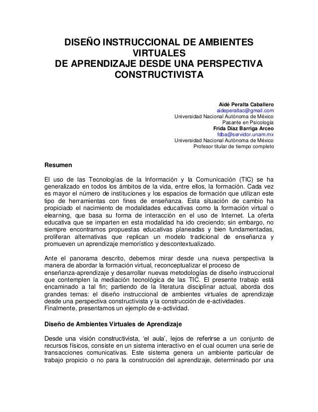 DISEÑO INSTRUCCIONAL DE AMBIENTES                VIRTUALES   DE APRENDIZAJE DESDE UNA PERSPECTIVA             CONSTRUCTIVI...