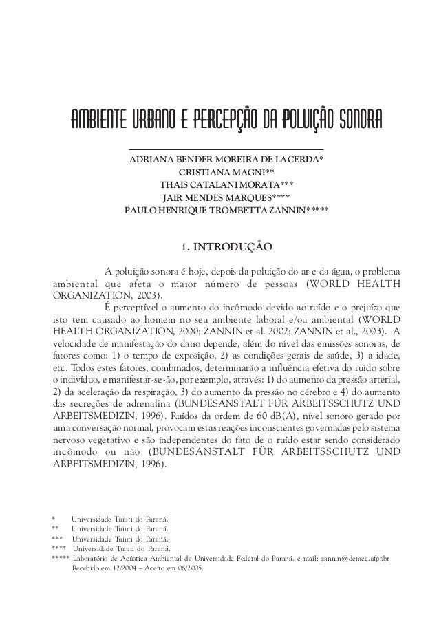 Ambiente Urbano e Percepção da Poluição SonoraAmbiente Urbano e Percepção da Poluição SonoraAmbiente Urbano e Percepção da...
