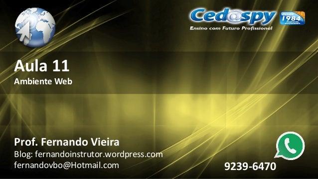Aula 11 Ambiente Web Prof. Fernando Vieira Blog: fernandoinstrutor.wordpress.com fernandovbo@Hotmail.com 9239-6470