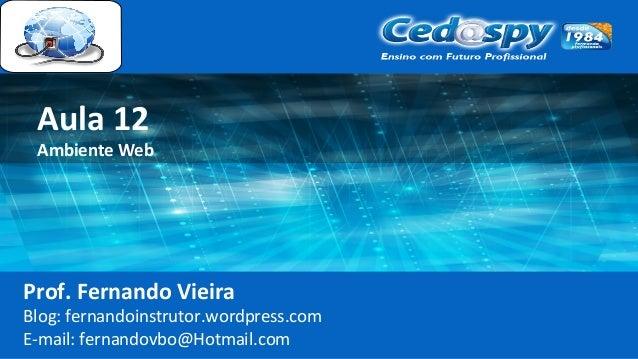 Aula 12 Ambiente Web Prof. Fernando Vieira Blog: fernandoinstrutor.wordpress.com E-mail: fernandovbo@Hotmail.com