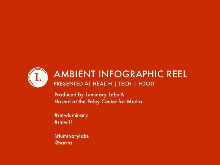 AMBIENT INFOGRAPHIC REELPRESENTED AT HEALTH | TECH | FOODProduced by Luminary Labs &Hosted at the Paley Center for Media#s...