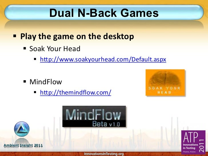 Dual N-Back Games     Play the game on the desktop          Soak Your Head                http://www.soakyourhead.com/D...