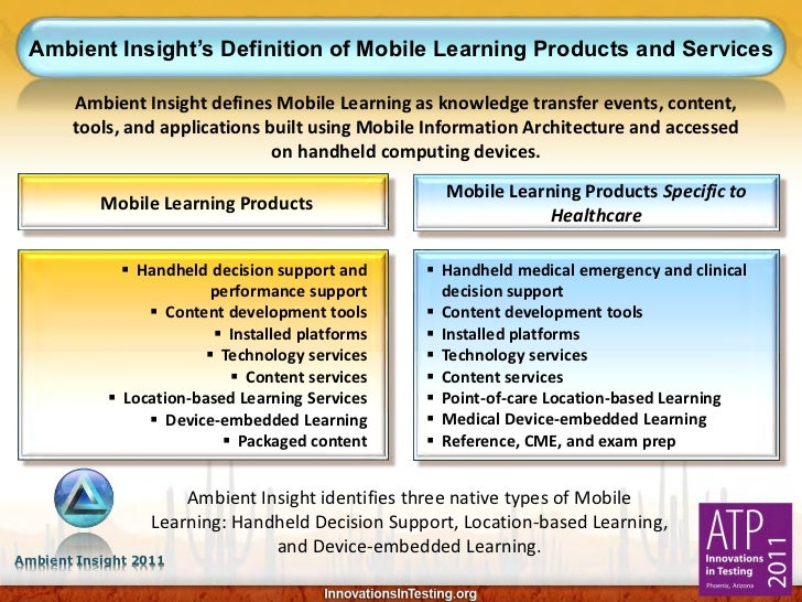 Ambient Insight's Definition of Mobile Learning Products and Services       Ambient Insight defines Mobile Learning as kno...