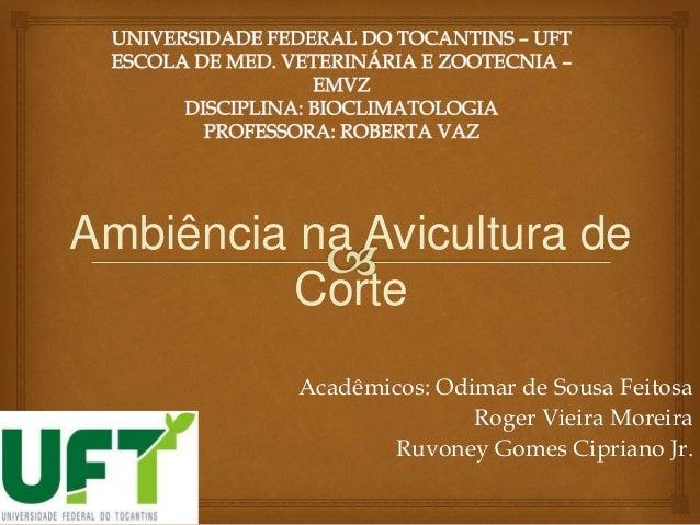 Acadêmicos: Odimar de Sousa Feitosa Roger Vieira Moreira Ruvoney Gomes Cipriano Jr. Ambiência na Avicultura de Corte