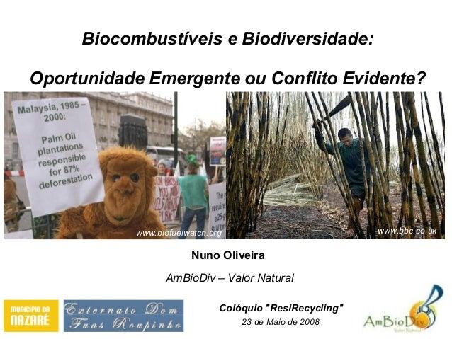 Biocombustíveis e Biodiversidade: Oportunidade Emergente ou Conflito Evidente? Nuno Oliveira AmBioDiv – Valor Natural 23 d...