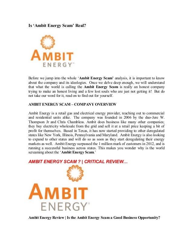 Ambit Energy Login >> Ambit energy scam