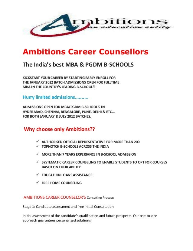 Ambitions Career Counsellors The India's best MBA & PGDM B-SCHOOLS KICKSTART YOUR CAREER BY STARTING EARLY ENROLL FOR THE ...