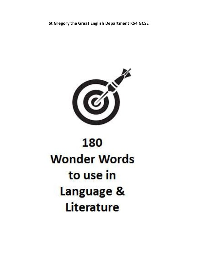 180 Words to know for GCSE Language and Literature