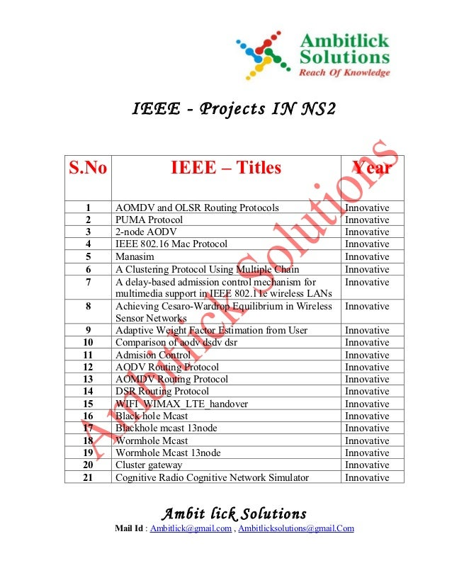 IEEE - Projects IN NS2S.No                 IEEE – Titles                                Year 1     AOMDV and OLSR Routing ...
