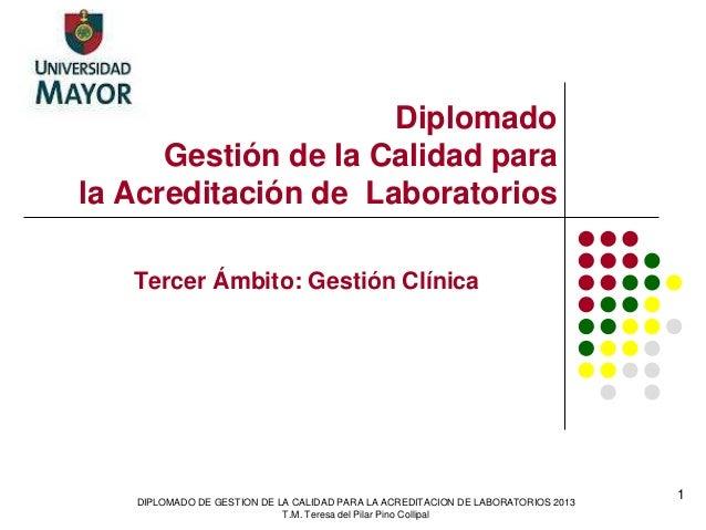 Diplomado Gestión de la Calidad para la Acreditación de Laboratorios Tercer Ámbito: Gestión Clínica DIPLOMADO DE GESTION D...