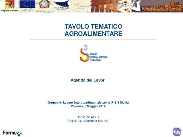 TAVOLO TEMATICO AGROALIMENTARE Agenda dei Lavori Gruppo di Lavoro Interdipartimentale per la RIS 3 Sicilia Palermo, 8 Magg...