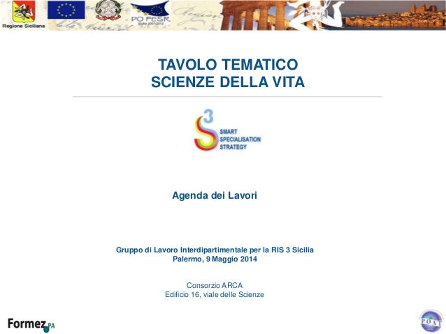 TAVOLO TEMATICO SCIENZE DELLA VITA Agenda dei Lavori Gruppo di Lavoro Interdipartimentale per la RIS 3 Sicilia Palermo, 9 ...