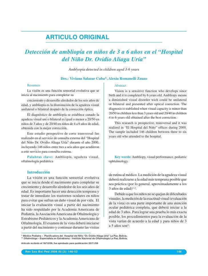 """ARTICULO ORIGINAL   Detección de ambliopía en niños de 3 a 6 años en el """"Hospital                 del Niño Dr. Ovidio Alia..."""
