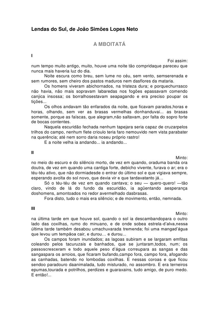 Lendas do Sul, de João Simões Lopes Neto                               A MBOITATÁI                                        ...