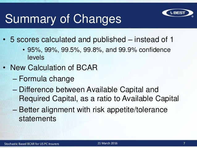 Overview Of A M Best S Stochastic Based Bcar For U S P C Insurers