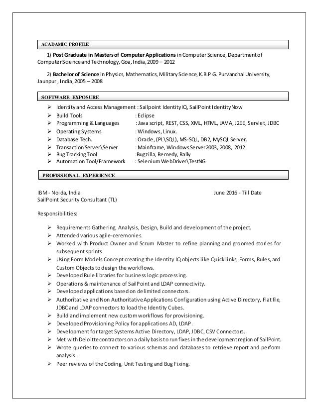 Identity Management Resume. Ambrish Keshari Resume. Sample Access