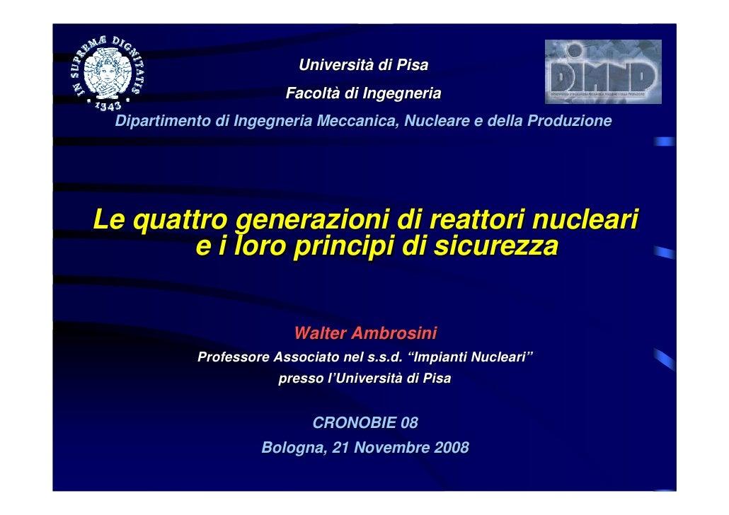 Università di Pisa                         Facoltà di Ingegneria  Dipartimento di Ingegneria Meccanica, Nucleare e della P...