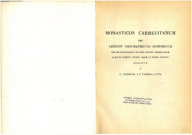 F    MONASTICON CARMELITANUM                                   SEU     LEXICON GEOGRAPHICUM - HISTORIOUM      OMNIUM FU N ...