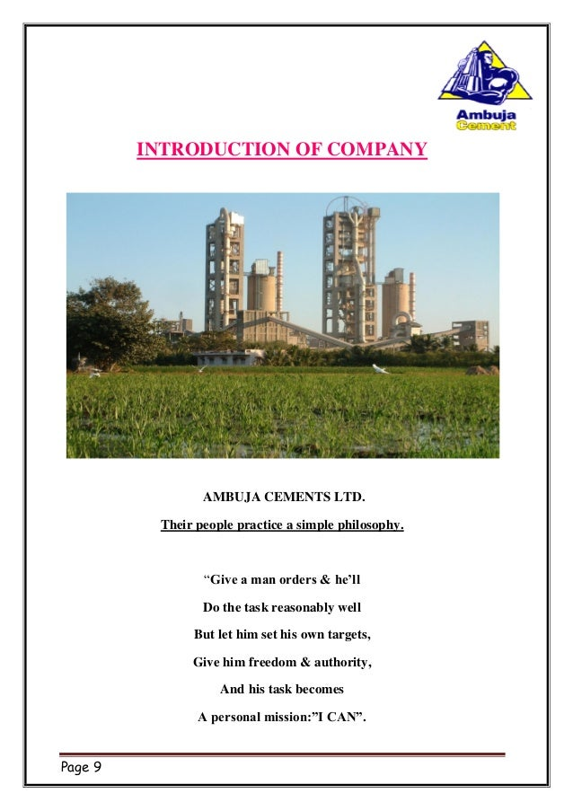 Ambuja Cements Limited : Ambuja cement project report