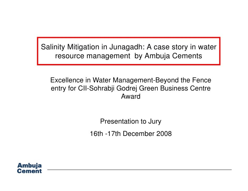 Salinity Mitigation in Junagadh: A case story in water     resource management by Ambuja Cements                      g   ...