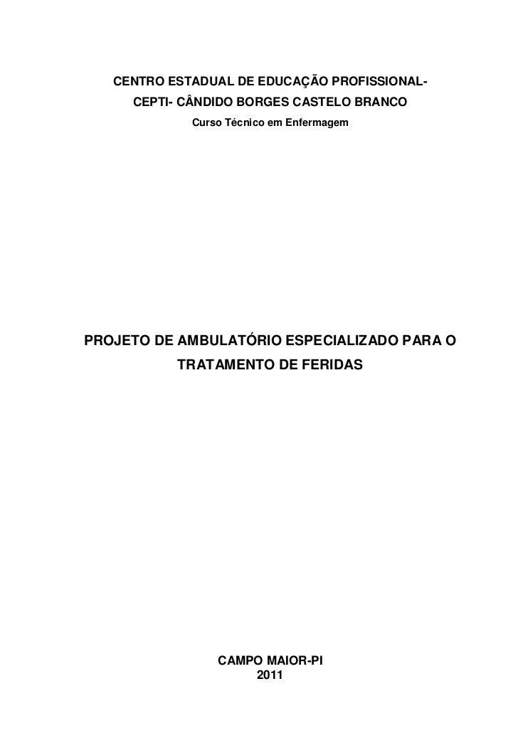 CENTRO ESTADUAL DE EDUCAÇÃO PROFISSIONAL-<br />CEPTI- CÂNDIDO BORGES CASTELO BRANCO<br />Curso Técnico em Enfermagem<br />...