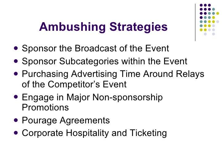 Ambushing Strategies <ul><li>Sponsor the Broadcast of the Event </li></ul><ul><li>Sponsor Subcategories within the Event <...