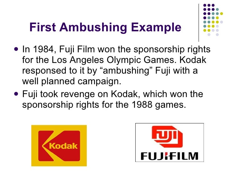 First Ambushing Example <ul><li>In 1984, Fuji Film won the sponsorship rights for the Los Angeles Olympic Games. Kodak res...
