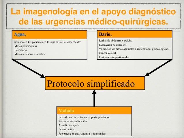 La imagenología en el apoyo diagnóstico de las urgencias médico-quirúrgicas. Protocolo simplificado AGUA, preparación para...