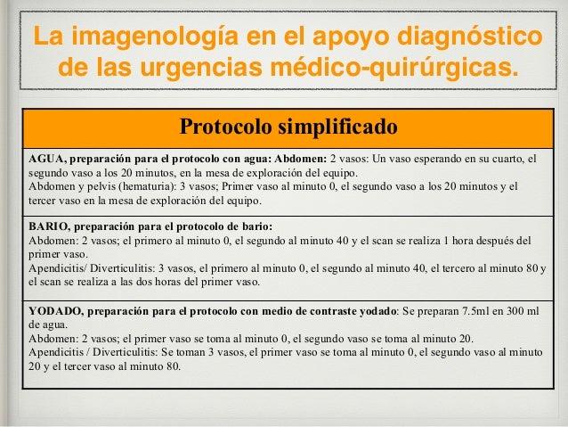 La imagenología en el apoyo diagnóstico de las urgencias médico-quirúrgicas. VARIACIONES EN EL PROTOCOLO DE ABORDAJE POR T...