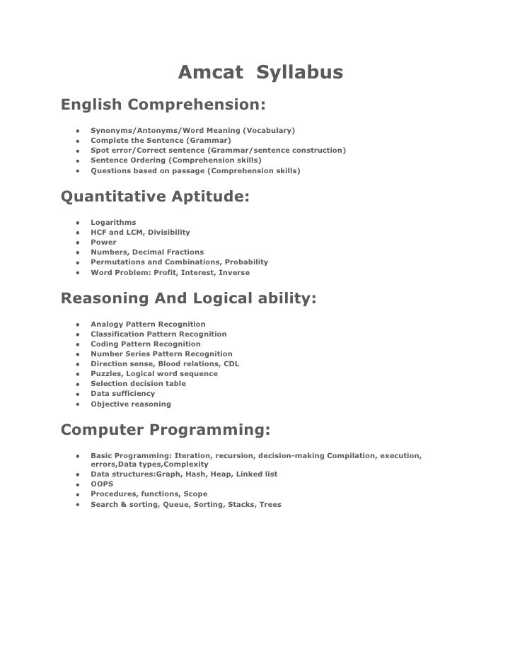 Amcat Syllabus And Sample Papers
