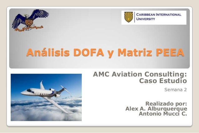 Análisis DOFA y Matriz PEEA AMC Aviation Consulting: Caso Estudio Semana 2  Realizado por: Alex A. Alburquerque Antonio Mu...